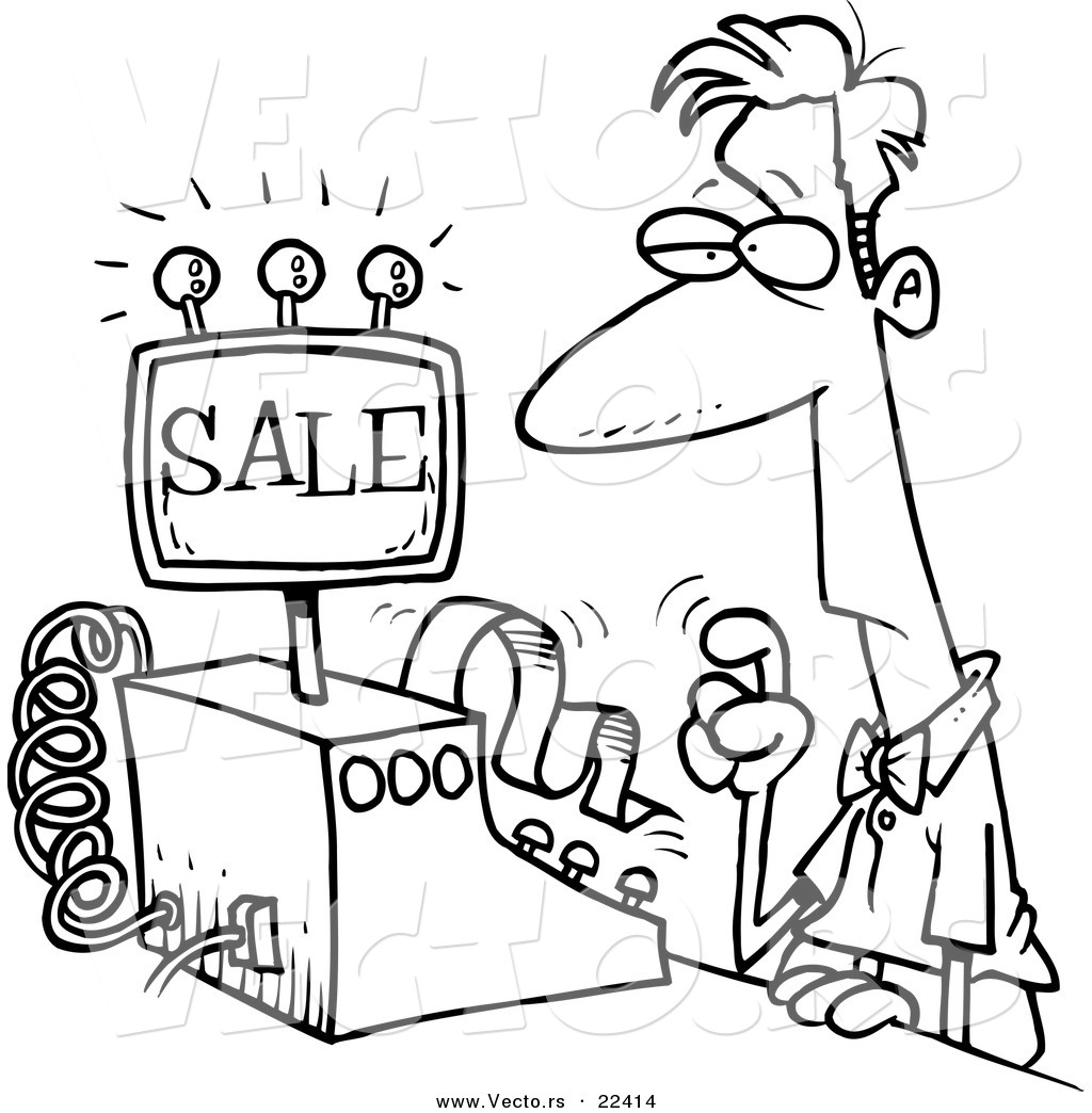 Cashier clipart black and white. Drawing at getdrawings com