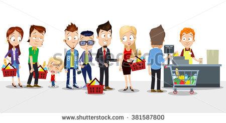 Queue station . Cashier clipart boy