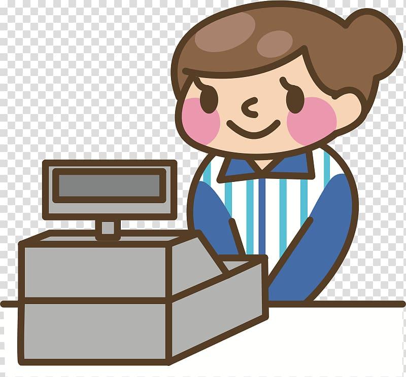Cashier clipart boy. Smiling beside cash register