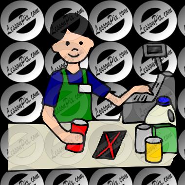 Supermarket cartoon illustration job. Cashier clipart boy