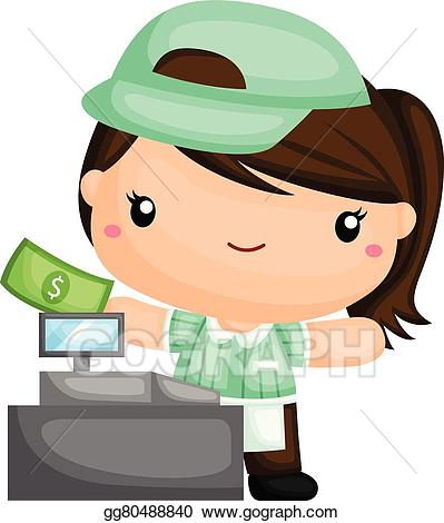 Cashier clipart boy. Eps vector cute stock