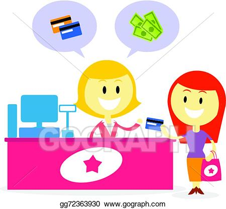 Vector art pay with. Cashier clipart cash payment