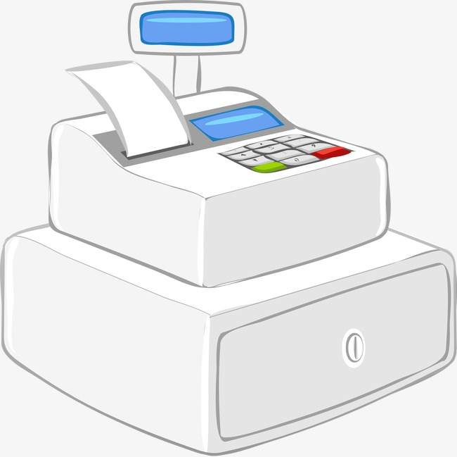 Fashion white png image. Cashier clipart cash register