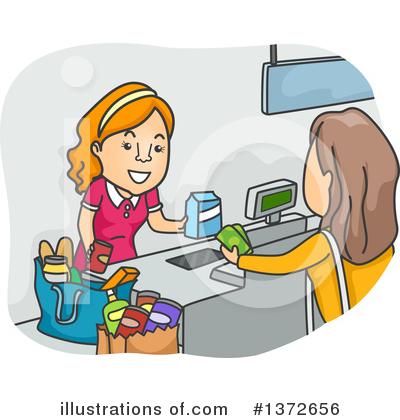 Cashier clipart cashier customer. Illustration by toonaday