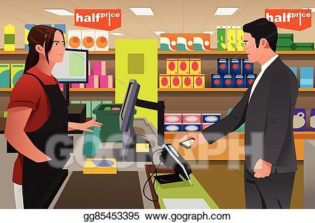 Cashier clipart cashier customer. Eps illustration man paying