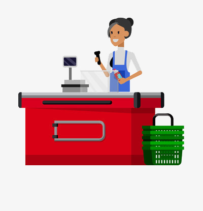 Scanning merchandise commodity cash. Cashier clipart cashier desk