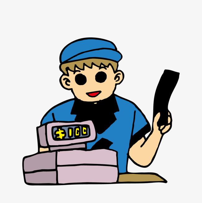 Cashier clipart cashier supermarket. Cash register cartoon working