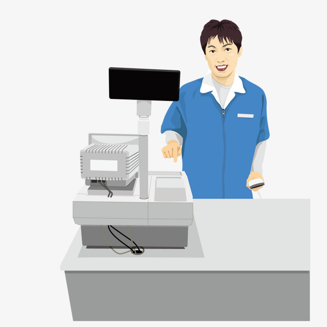 Cashier clipart cashier supermarket. Vector png and for