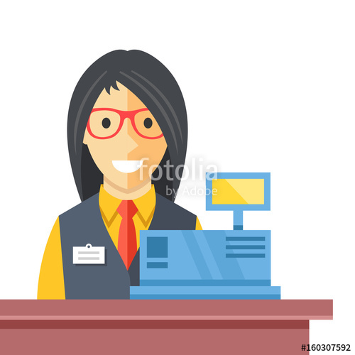 Woman at counter desk. Cashier clipart checkout
