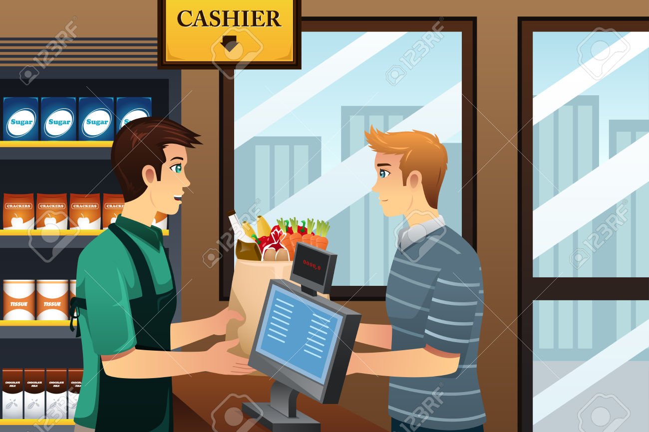 Man grocery shopping clipground. Cashier clipart checkout