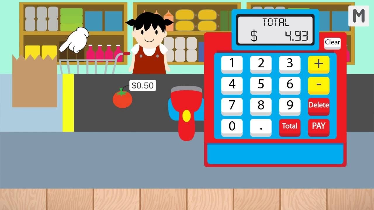 Kids cash register grocery. Cashier clipart child money