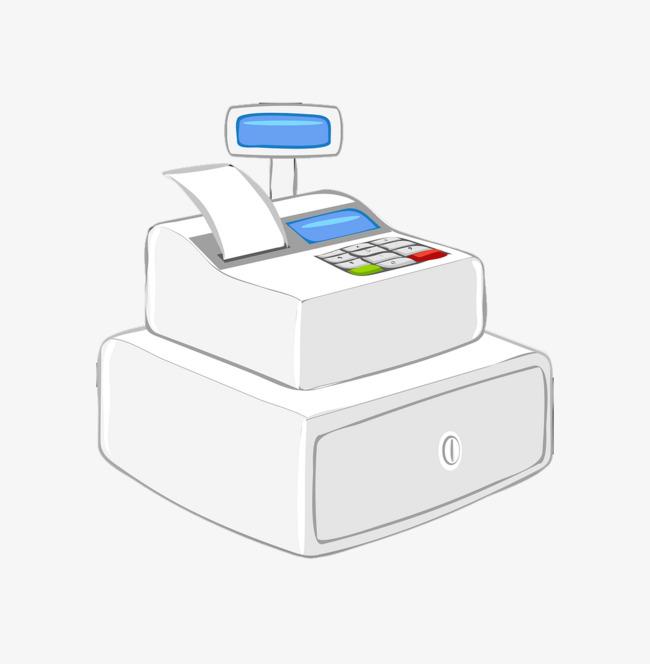 Cartoon supermarket cash register. Cashier clipart child money
