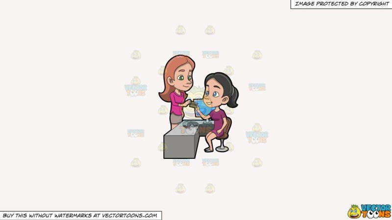 Cashier clipart child money. A woman handing out