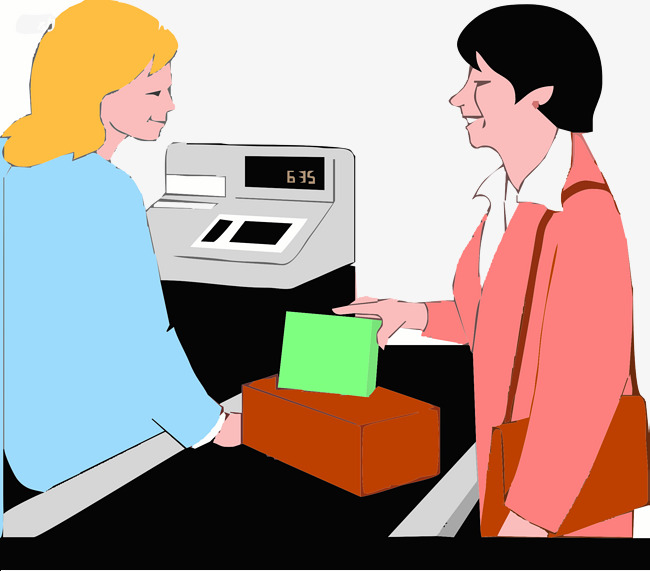 Waiting for the to. Cashier clipart cute