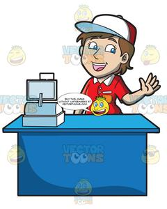 Cashier clipart female. A jolly fast food