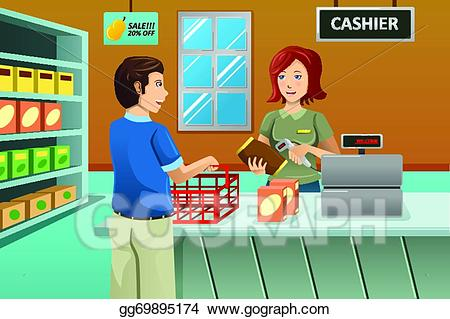 Cashier clipart female. Eps vector working in