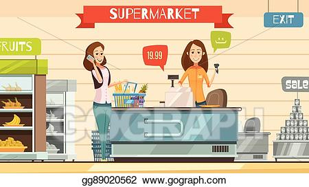 Cashier clipart grocery cashier. Eps vector supermarket at