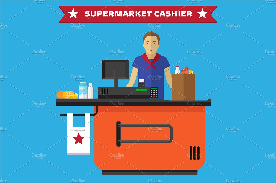 Supermarket flat illustrations creative. Cashier clipart grocery cashier
