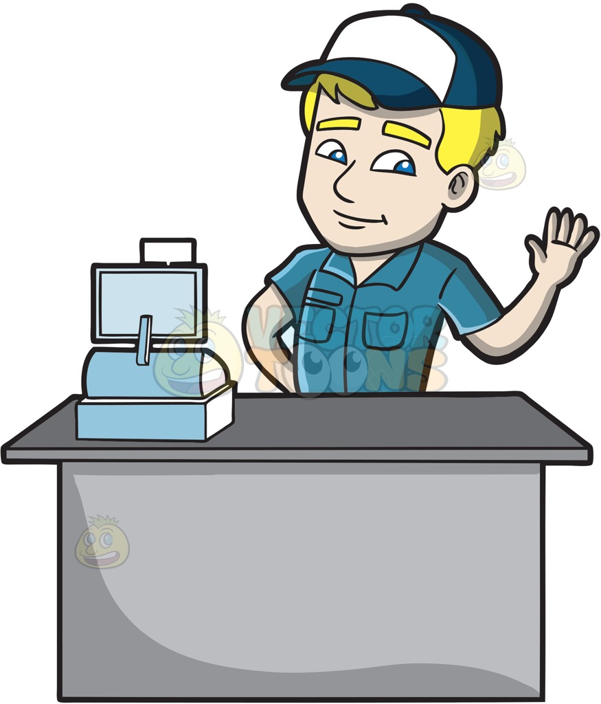 Cashier clipart grocery cashier. Clip art library view