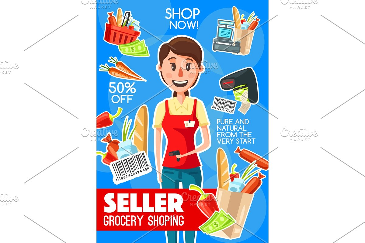 Supermarket or seller . Cashier clipart grocery shopping
