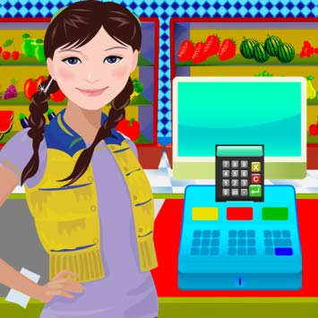 Amazon com supermarket virtual. Cashier clipart grocery shopping