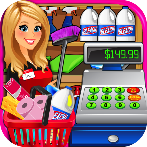Cashier clipart grocery shopping. Amazon com supermarket superstore