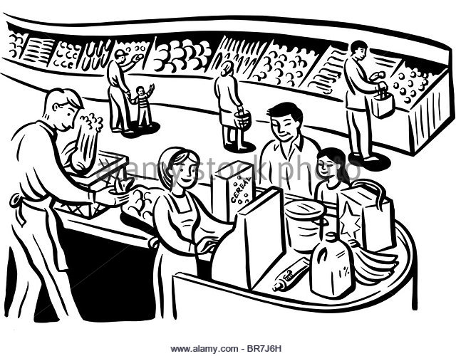 Cashier clipart grocery shopping. Store drawing at getdrawings