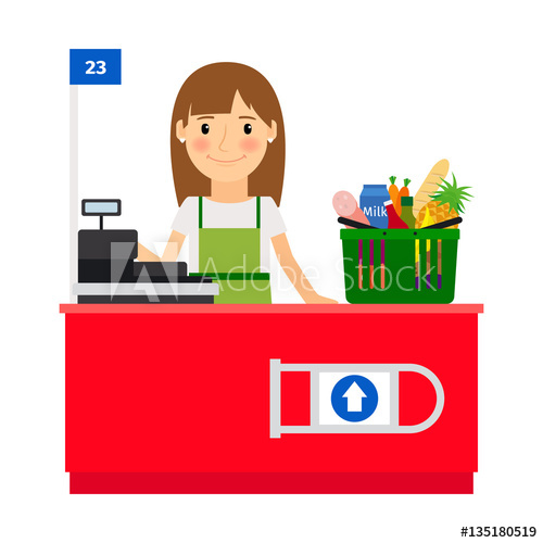 Lady at her workplace. Cashier clipart grocery shopping