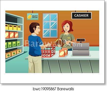 Cashier clipart grocery shopping. Working in the store