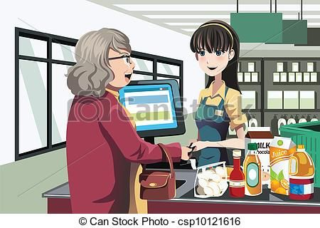 Store . Cashier clipart grocery shopping