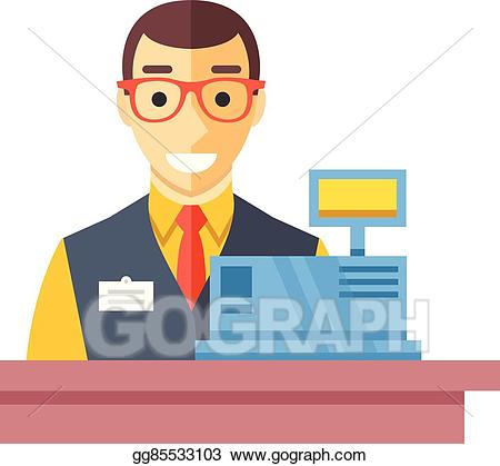 Vector stock man at. Cashier clipart happy