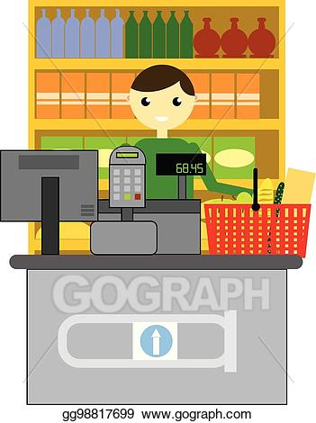 Cashier clipart happy. Eps vector smiling in