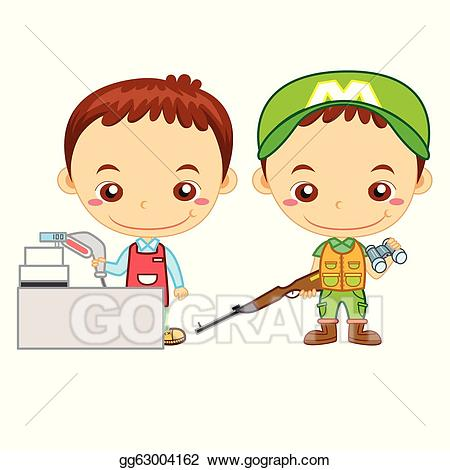 Cashier clipart kid. Vector kids and jobs