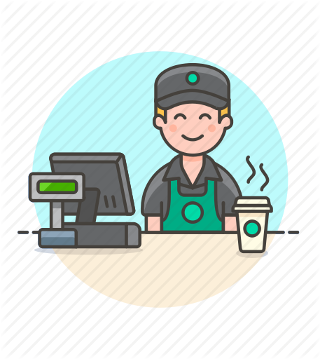 Drinks part by webalys. Cashier clipart male
