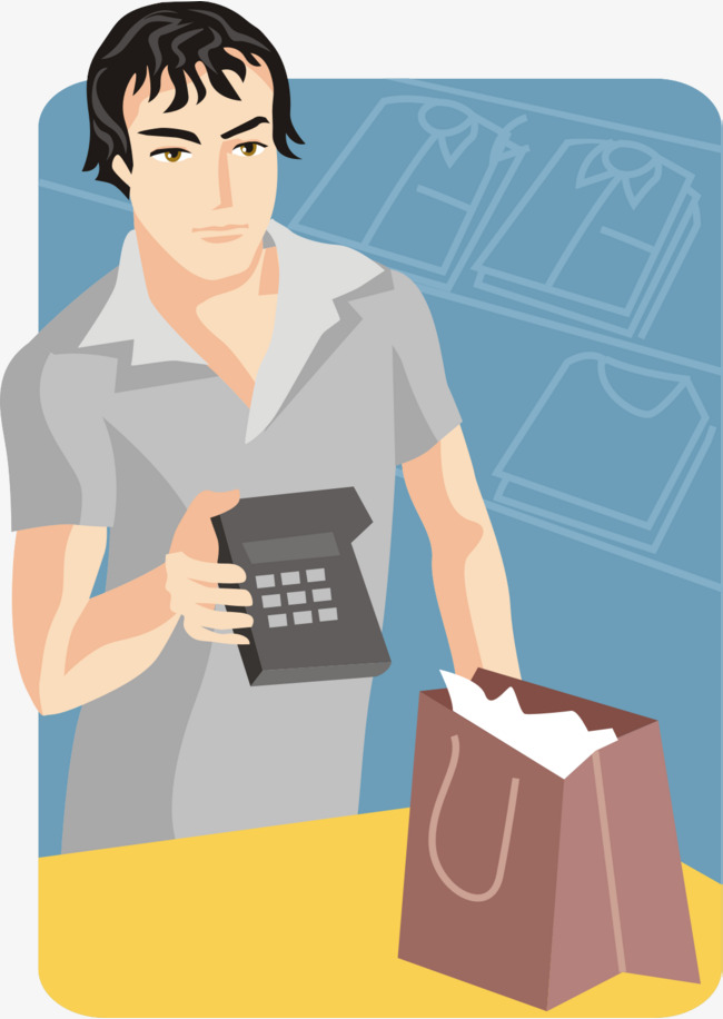 Clothing store png and. Cashier clipart male