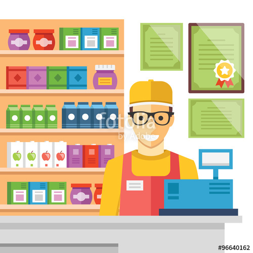 Man at supermarket checkout. Cashier clipart mall