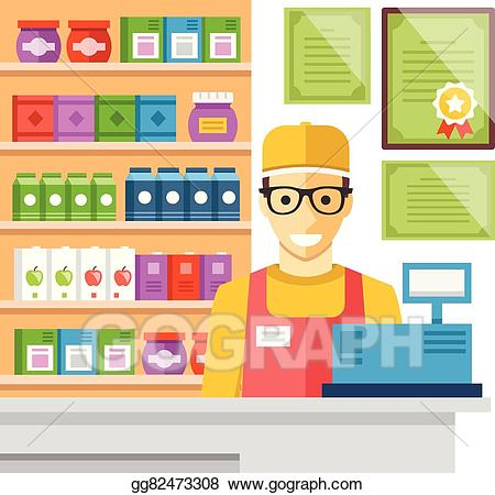 Cashier clipart mall. Vector illustration man at