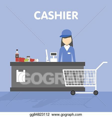 Eps vector workplace of. Cashier clipart mall