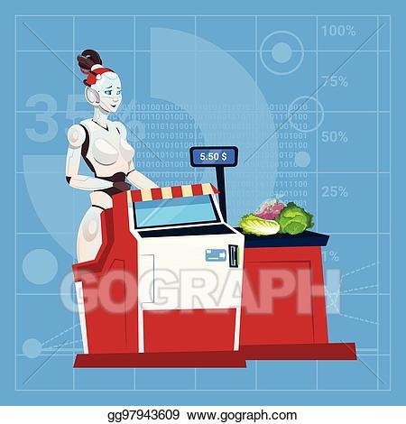 Cashier clipart mall. Clip art vector modern