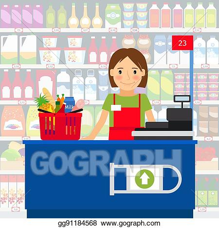 Cashier clipart person. Vector stock woman in