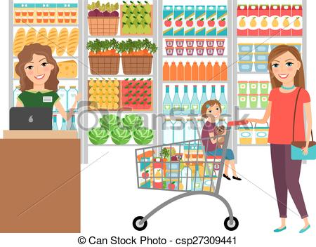 People grocery shopping a. Cashier clipart person
