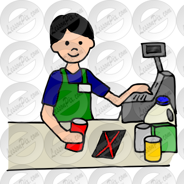Picture for classroom therapy. Cashier clipart person