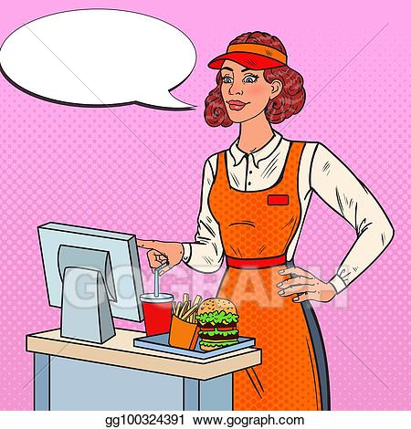 Vector art pop cashier. Clipart restaurant restaurant worker