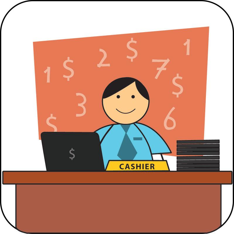 Cashier clipart school cashier. D source signage graphic