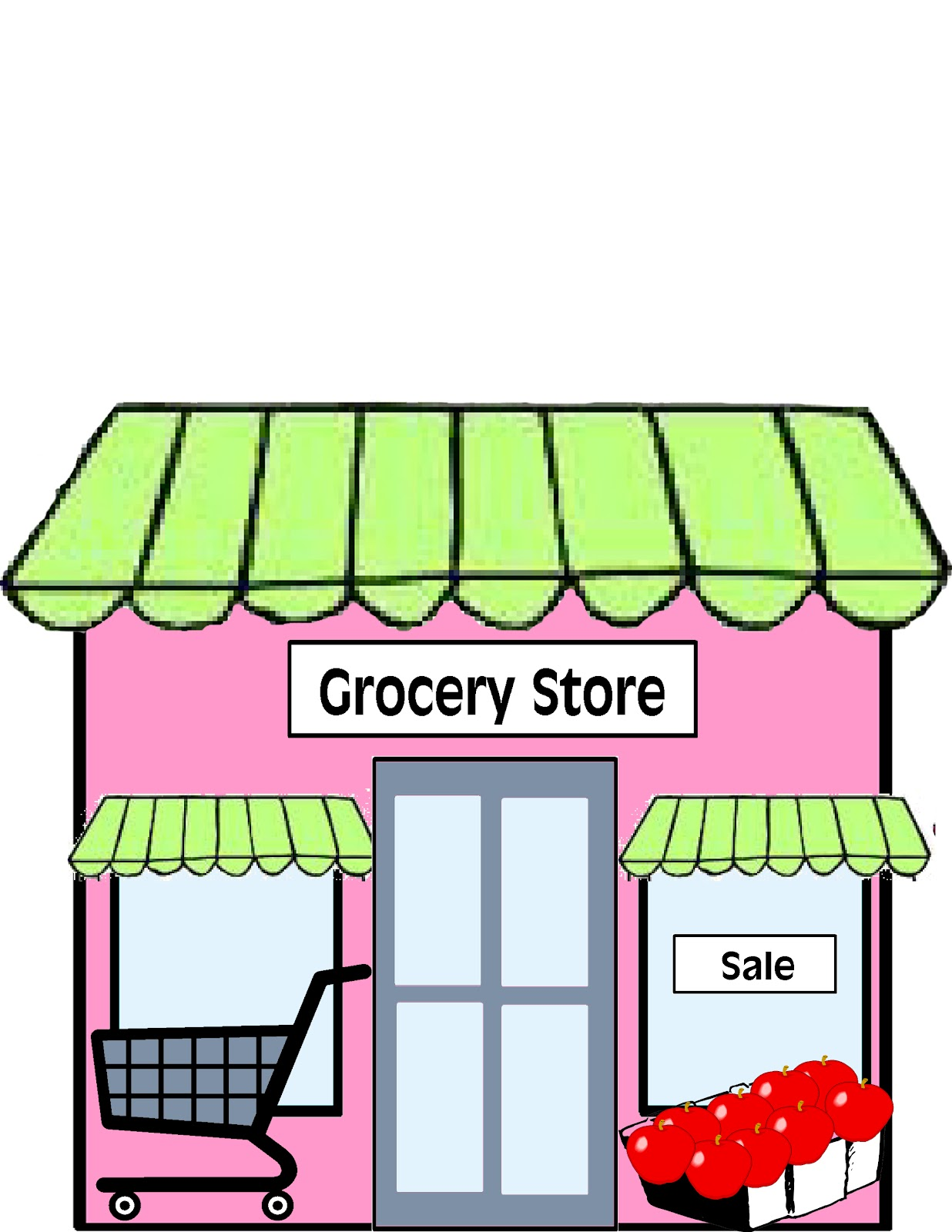 Mall clipart grocery. Restaurant food shop pencil