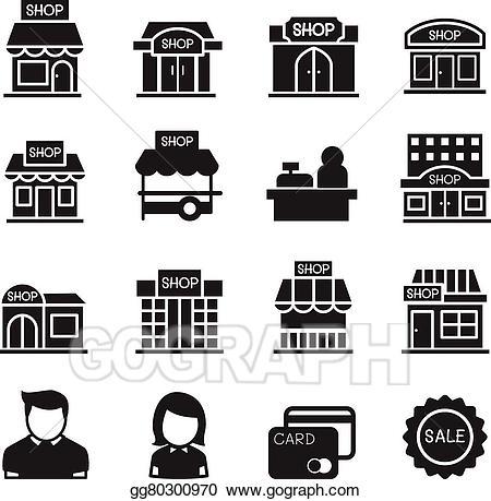 Eps illustration shop building. Cashier clipart silhouette