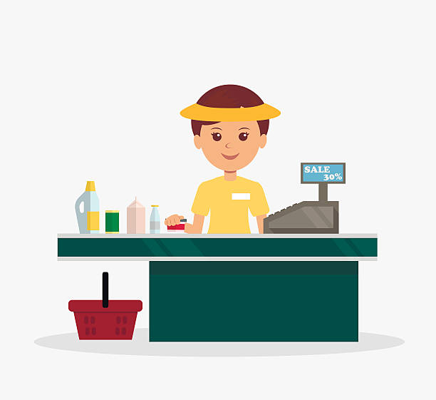Station . Cashier clipart table
