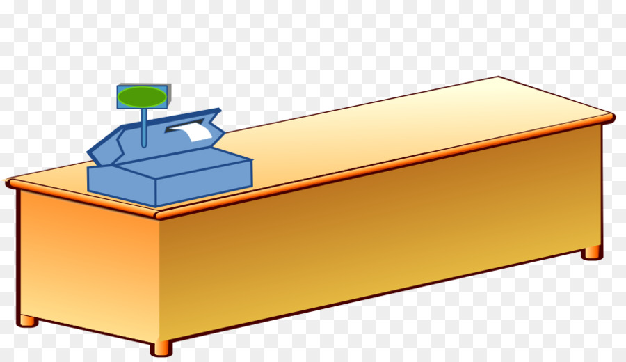 Cartoon yellow furniture product. Cashier clipart table
