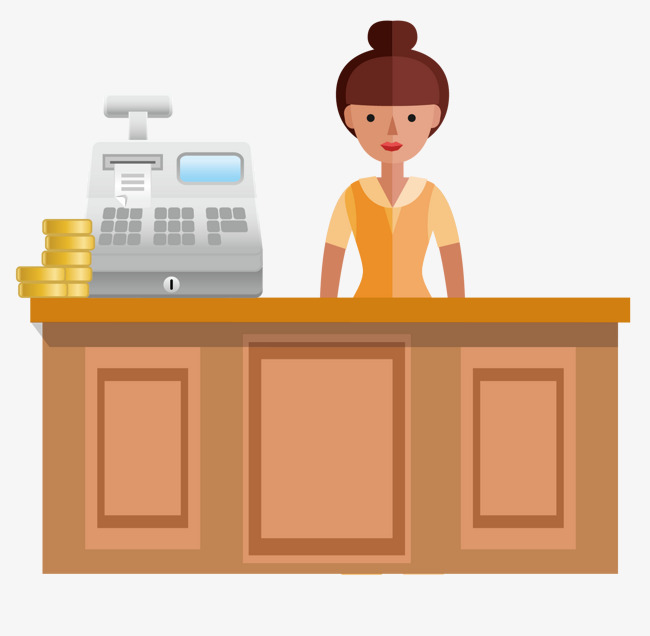 Cashier clipart table. Vector cartoon hand painted
