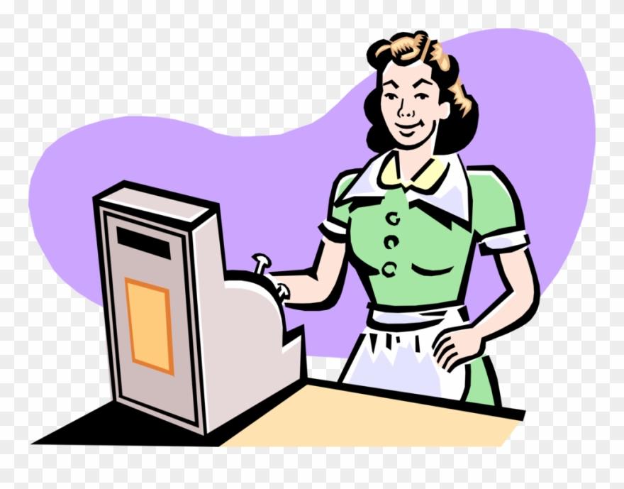 Cashier clipart transparent. Image download at diner